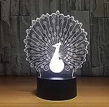Lámpara 3D De Pavo Real Lámpara De Noche Led Ambiente Lámpara De Noche Usb 7 Colores Cambiar Luces Táctiles Led Para Regalo De Fiesta De Cumpleaños