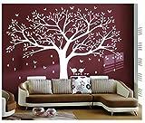 BDECOLL adhesivo de pared, árbol con pájaros vinilo Natural Tema pared arte bebé guardería...