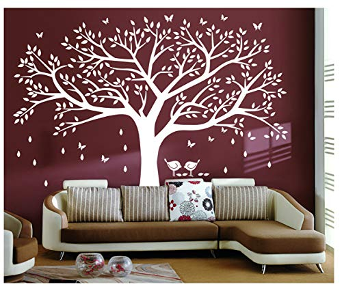 BDECOLL adhesivo de pared, árbol con pájaros vinilo Natural Tema pared arte bebé guardería adhesivo, vinilo