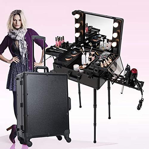 ZZSQ Estuche de Tren de Maquillaje de peluquería portátil rodante con Patas de Espejo con luz LED 4 Ruedas Estuche de Belleza Estuche cosmético Vanity Estuche Organizador,Negro