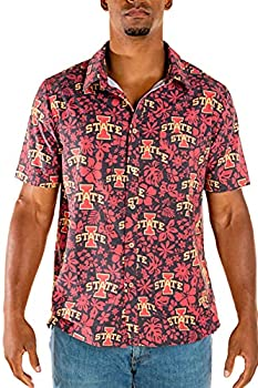 Tellum and Chop Mens Iowa State Cyclones Hawaiian Button Down Short Sleeve Floral Shirt  X-Large Black Burgundy Floral Print