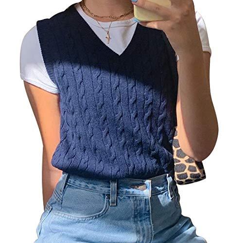 Sfit Damen Strickweste Ärmellos V-Ausschnitt Kariert Weste Top Sweater Preppy Style Pullover Teenager Mädchen Streetwear Für Herbst Und Frühling