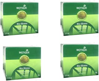 4 x Biotique Bio Henna Fresh Powder Hair Color For Greying Hair - 90g (Pack of 4)