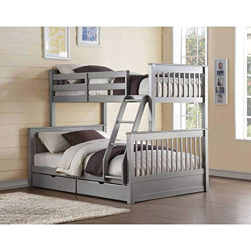 LXZWAN Wood Bunk Bed (Twin/Full) in Gray with 2 Drawers and Easy-to-Access Guardrail for Family Bedroom and Students Apartment U.s. Local Shipments Can Be Delivered Quickly (Color : Gray)