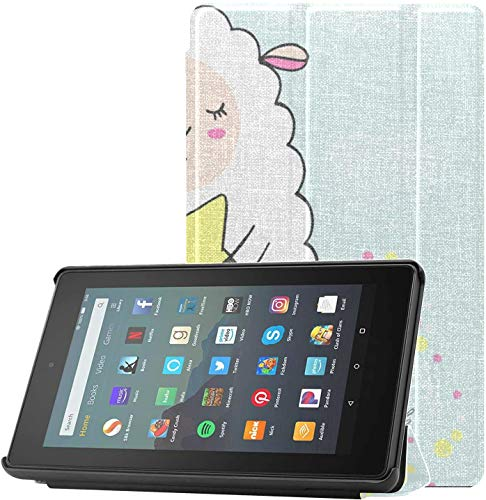 Cover KindleFire7Case2019Release Romantic Sheep Lovely Sweet Warm KindleFireProtectorCase for Fire 7 Tablet (9th Generation, 2019 Release) Lightweight with Auto Sleep/Wake