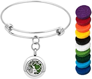 LoEnMe Jewelry Aromatherapy Essential Oil Diffuser Bracelet Love Heart Angel Wings Cross Tree of Life Music Note for Mom Child