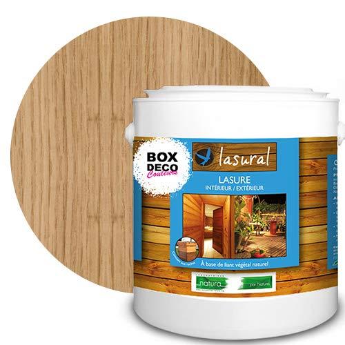 Lasure naturelle écologique bio - NATURA - Lasural - Bois intérieur et extérieur - 7 teintes - 3 L - 42 m² (Chêne clair)