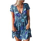 AMhomely Vestido de verano para mujer, elegante, holgado, con cuello en V, color a juego, vestido de manga corta, elegante, vintage, étnico, vestido suelto, talla Reino Unido