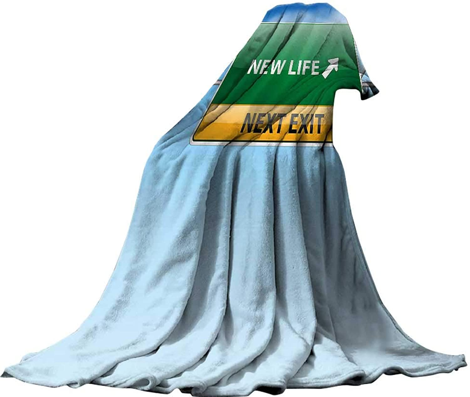 QINYAN-Home Lightweight Blanket (70 x60 ) Summer Quilt Comforter Going Away Party Decorations Life Concept with Road Sign on bluee Sky Next Exit bluee Green Yellow.