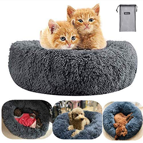 QCHOMEE Soft Plush Round Pet Bed