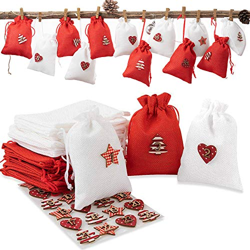 24 sacchetti di iuta/sacchetto di iuta per calendario dell'Avvento da riempire bomboniere sacchetto di iuta, sacchetto di stoffa + set da 1 a 24 numeri in legno e tessuto con adesivi