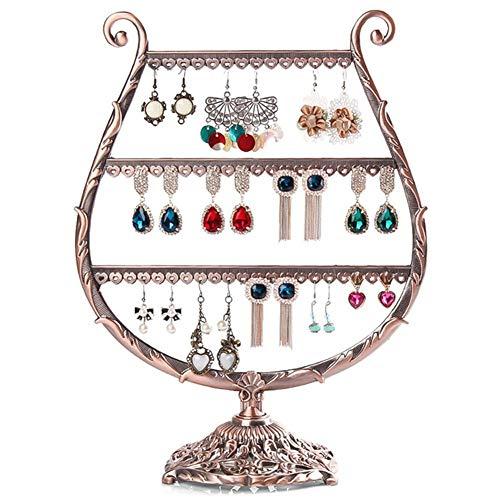 lffopt Expositor Pendientes joyero Pendientes Soporte de joyería de 3 Capas Antiguo joyería Pendiente Organizador Almacenamiento de joyería y bisutería Bronze 1