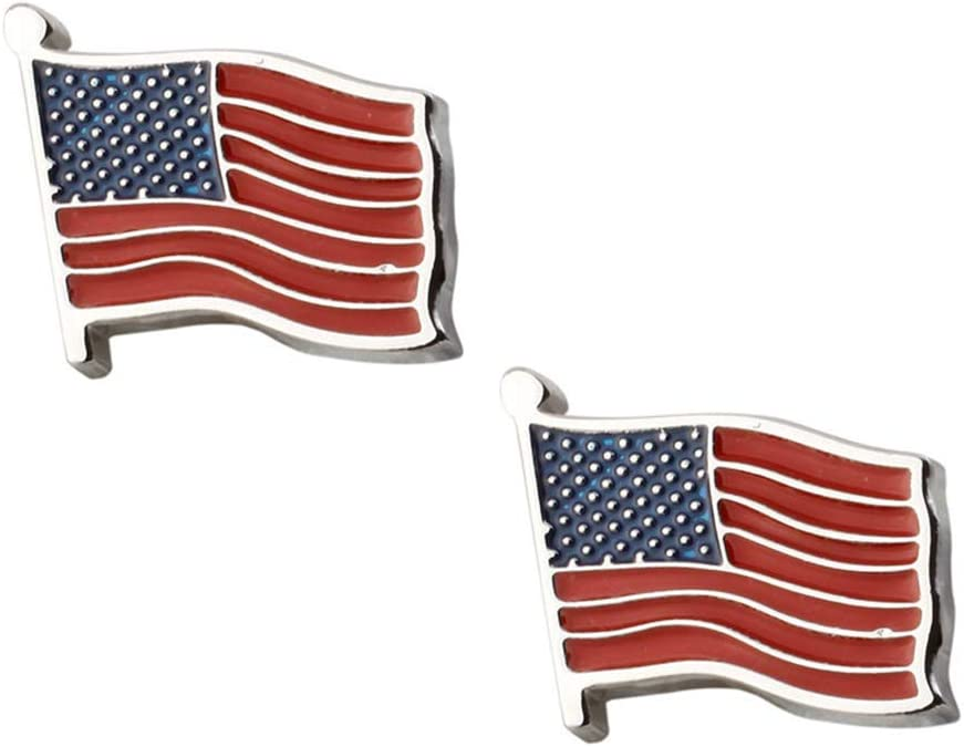 PartyKindom 1 Pair American Flag Design Shirt Sleeve Decor Cufflinks Replacement Cuff Studs Male Cuff Links for 4th of July Home Decor