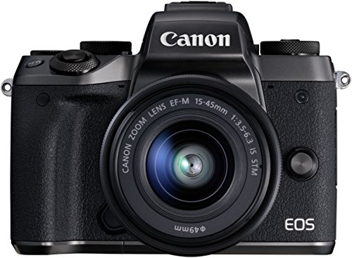 Canon EOS M5 Systemkamera (24,2 MP, APS-CCMOS-Sensor, WiFi, NFC, Full-HD, Kit inkl. EF-M 15-45mm 1:3,5 -6, 3 IS STM Objektiv + gratis EF-EOS M Adapter