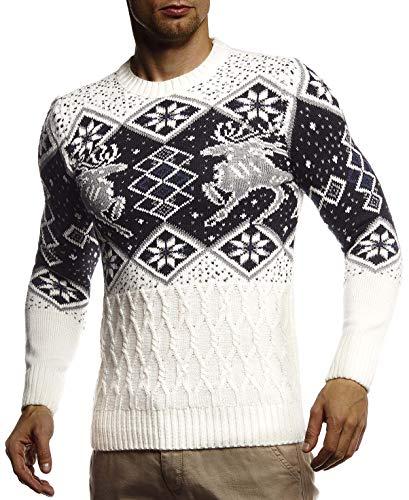 Leif Nelson - Maglione da uomo in maglia norvegese con collo rotondo, invernale, slim fit, LN20761   natur M