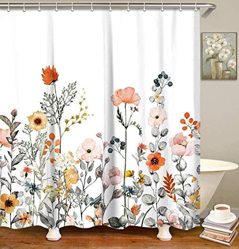 LIVILAN Fabric Floral Shower Curtain Set with 12 Hooks Watercolor Decorative Bath Curtain Modern Bathroom Accessories, Machine Washable (60' X 72')