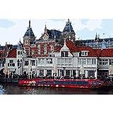 Pmhhc Estación De Tren De Ámsterdam Pintura Al Óleo por Números De Europa Landlandscape Pintura Acrílica Pintura De Pared Digital Únicos Regalos-with Framed