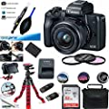 EOS M50 Mirrorless Camera Kit w/EF-M15-45mm and 4K Video - Black - Essential Accessories Bundle from Deal-Expo