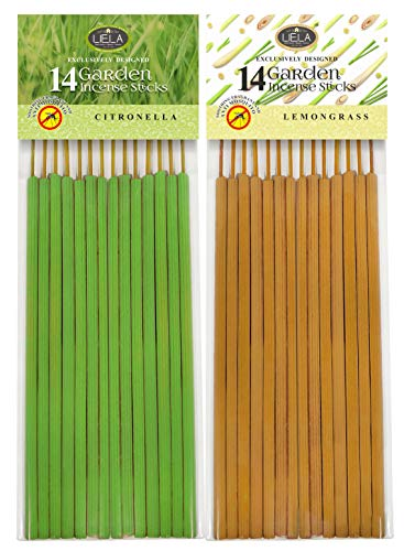LIELA Mosquito Repellent 28 Sticks in Pure Citronella and Lemon Grass ; Each 16-Inch 14 Sticks -Set of 2