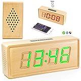 Madera Maciza LED Reloj Despertador Musical, El Reloj De Tabla Colorido Del Altavoz Decoloración Jugador Lanzamiento Controles Táctiles De Madera Bluetooth, Brillo Ajustable AM