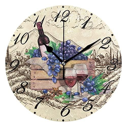 BAIYIN Reloj de pared de madera con copas de vino tinto, silencioso, sin tictac, con uvas azules, estilo vintage, silencioso, para dormitorio, cocina, decoración del hogar