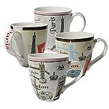 Set of Four (4) Assorted Paris London Design 16 oz Coffee Mugs IG13519 [A-to-Z Deals]