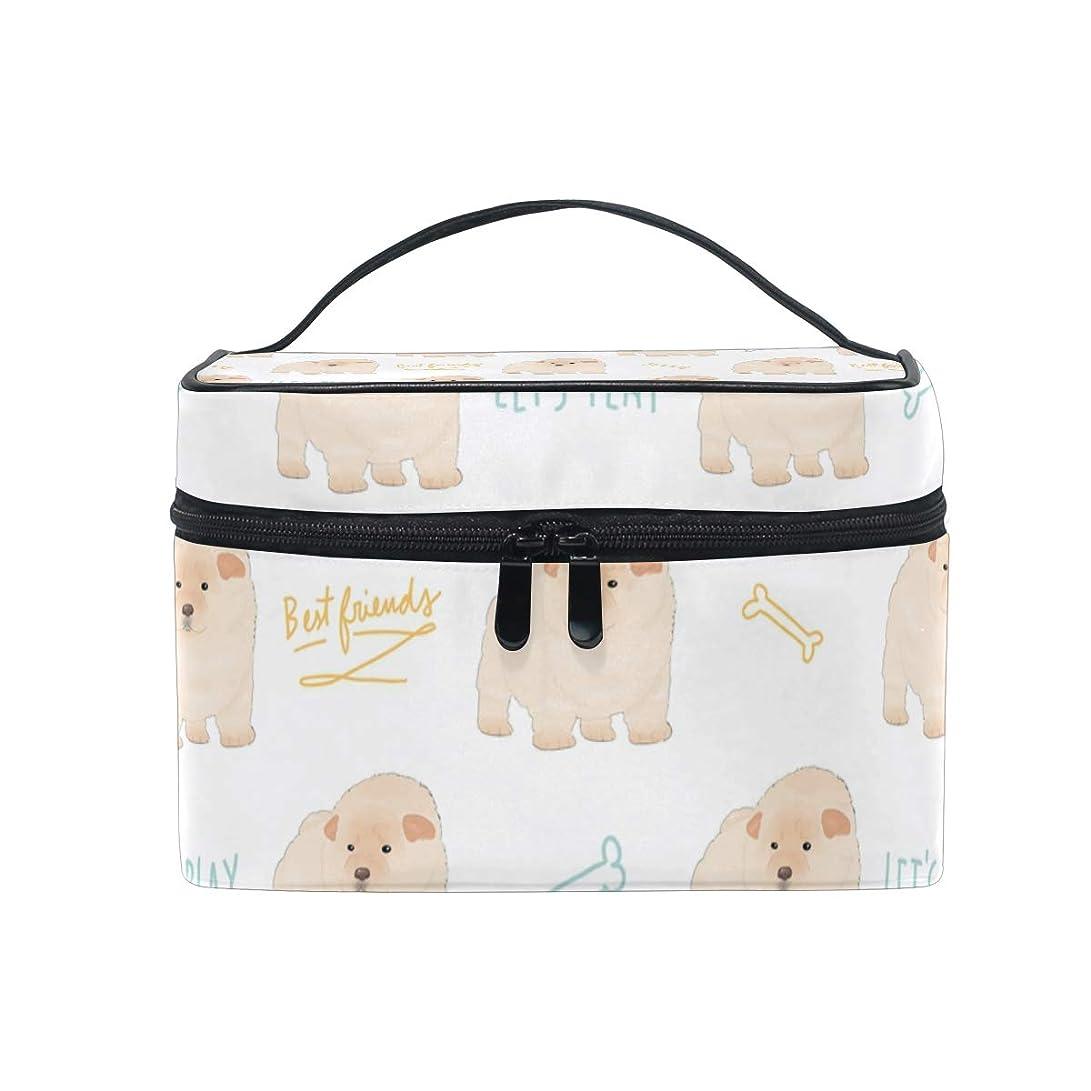 国旗バンガロー実行するメイクボックス かわいいチャウ犬 柄 化粧ポーチ 化粧品 化粧道具 小物入れ メイクブラシバッグ 大容量 旅行用 収納ケース