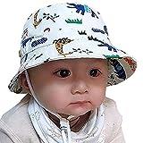 Snyemio Cappello da Sole Bambino Cotone Interno Bucket Hat con Sottogola (Bianco, 42)