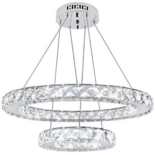Modern Round Chandelier LED Ring Pendant Ceiling Light Cool White Dining Room Table Kitchen Island Bedroom Living Room M0171