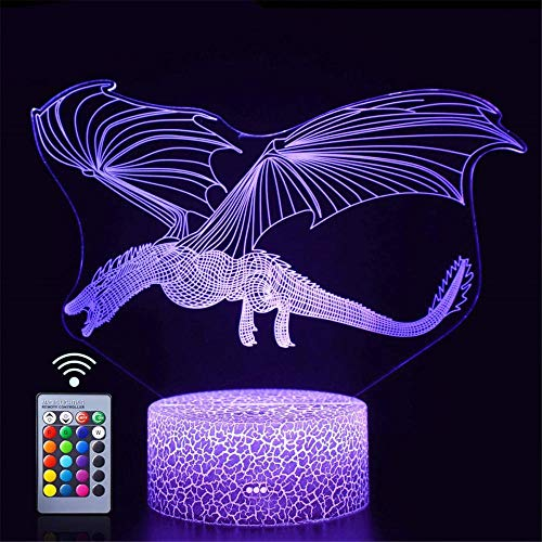 3D LED ilusión lámpara noche dragón niños noche luz led sensor táctil dormitorio lámpara decorativa regalo vacaciones para niña noche lámpara