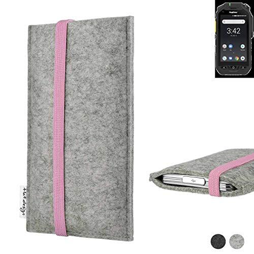 flat.design Handy Hülle Coimbra für Ruggear RG725 handgefertigte Handytasche Filz Tasche Case rosa hellgrau