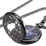 Reloj de bolsillo elegante clásico.Reloj de bolsillo para hombre DYF y WZ con cadena, relojes retro analógico Steampunk esqueleto, relojes mecánicos de bolsillo de viento con números romanos para homb