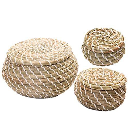Hemoton Cesta portaobjetos de mimbre, caja redonda de algas, 3 piezas, con tapa, contenedor para juguetes, contenedores, artículos variados, para despensa o baño
