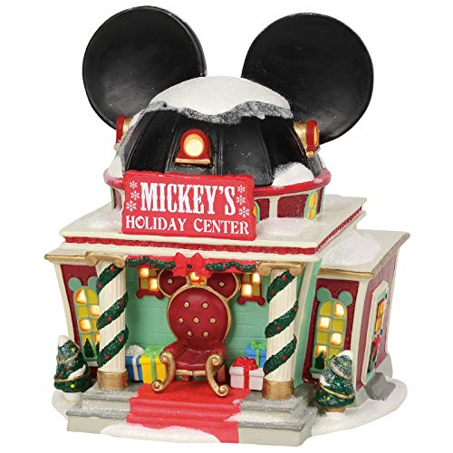 Department 56 Disney Village Mickey's Holiday Center Lit Building, 7.375 Inch, Multicolor
