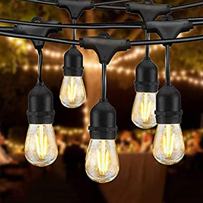 48FT LED Outdoor String Lights Waterproof Dimmable 15PCS 2W Vintage Edison Glasses Bulbs Commercial Grade Patio Light Create Cafe Ambience in Your Backyard (48FT)
