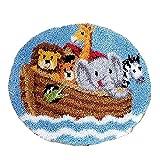 XLLHY Redondo Bricolaje Kits de Hilo Ganchillo Zoológico Animales Kit Gancho pestillo Inconcluso Alfombra Crochet Amortiguar Bordado Juego alfombras Lienzo Color,50 * 50cm/20 * 20in
