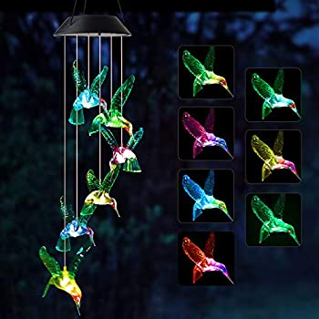 JOBOSI Wind Chimes Hummingbird Wind Chimes Outdoor,Solar Wind Chimes Gifts for mom Birthday Gifts for Women