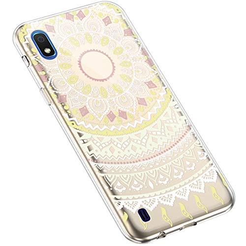 Uposao Kompatibel mit Samsung Galaxy A10 Handyhülle Transparent mit Muster Motiv TPU Silikon Schutzhülle Case Crystal Clear Handytasche Dünn Stoßfest Bumper Backcover,Mandala Weiß Gelb