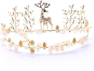FELICILII Bridal Tiara Deer Crown Gold Animal Crown Accessori da Sposa Crown Accessori for Capelli Crown Gold
