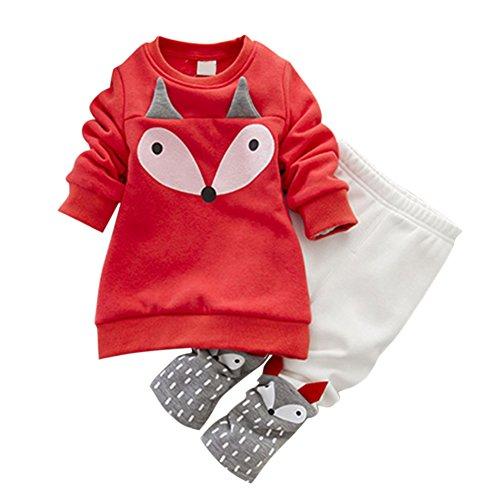 ESHOO Baby Langarm Cartoon Fuchs Sweatshirt Samt Hose Kleidung Set