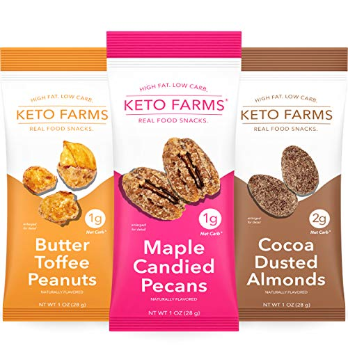 Keto Farms, Keto Snacks, Candied Nuts (1-2g Net Carb) [Variety Pack] 1 Ounce, 6 Count | Keto Friendly Candy, Sweets and Desserts - Zero Sugar Added, Low Carb Snacks, Satisfies Sweet Cravings