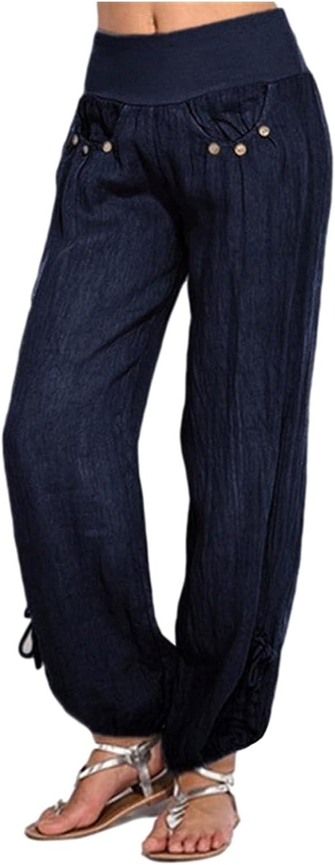 YUNDAN Women's Linen Pants Plus Size Casual Workout Running Yoga Sweatpants Soft Cropped Drawstring Leg Beach Trousers