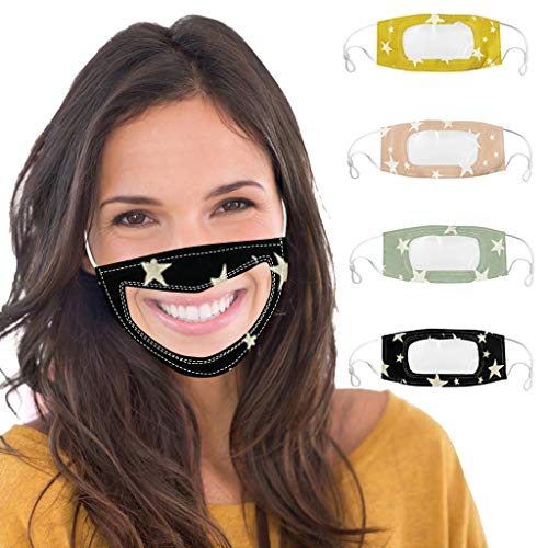 4PC Unisex Face Clear Mask Visible Expression for Deaf-mute,Communication Lip Language Visual Mask