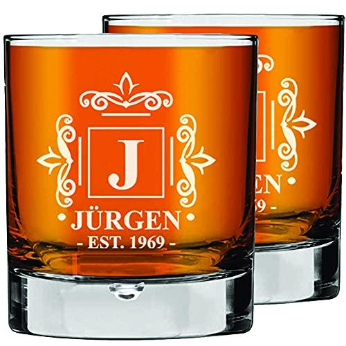 2 Pcs. Juego de Vasos de Whisky Personalizados Regalo del Padre, Vasos de Bourbon, Regalo para Él, Regalo de Cumpleaños, Regalo de Novio, Tamaño 270ml