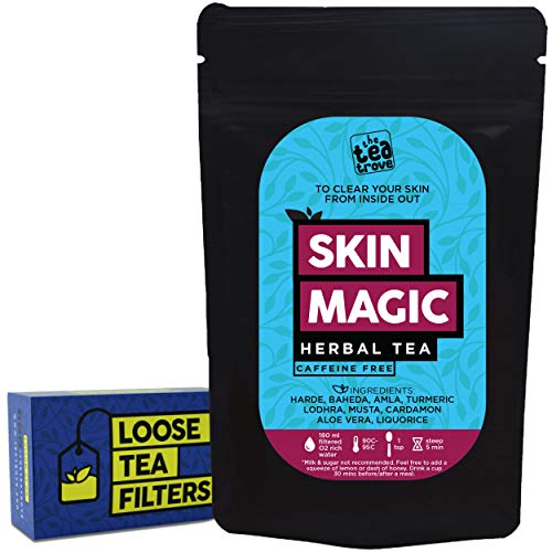 The Tea Trove Skin Magic Herbal Tea with Loose Tea Filter   Helps Skin Detox for Rich Clear Glowing Skin   Steep as Hot Skin Detox Tea or Iced Antioxidant Acne Drink   Caffeine Free (50gms, 25 Cups )