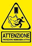 Cartello Adesivo Segnaletica Antifurto Protezione Nebbiogena Attiva - in PVC Impermeabile Formato A6- Sicurezza e Allerta, Sistemi di sicurezza attivi, Attenzione Antifurto