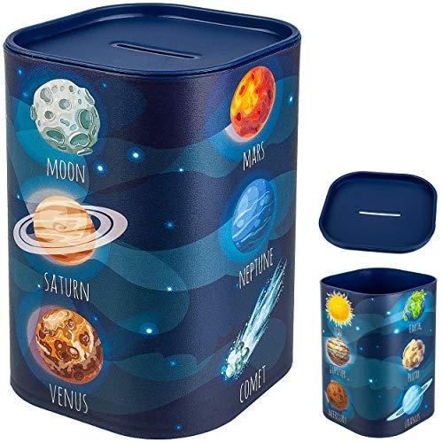 Spardose - Weltraum - Planeten / Erde - stabile Sparbüchse - wiederverschließbar - mit abnehmbarem Deckel - aus Kunststoff / Plastik - mit Verschluss - Sparsc..