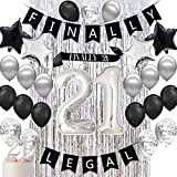 Haimimall 21st Birthday Decorations for Her Him, Finally Legal 21st Birthday Decorations inclouding Finally Legal Banner ,Finally 21 Sash ,Silver Metallic Tinsel Foil Fringe Curtains Photo Backdropand