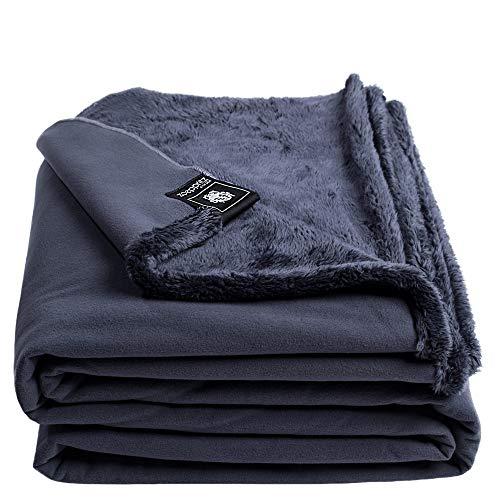 Reborn Bliss-Decke – Kunstfell Kuscheldecke – flauschige und luxuriöse Fellimitat-Decke mit glatter Rückseite - 140x190 cm – 970 charcoal – von 'zoeppritz since 1828'