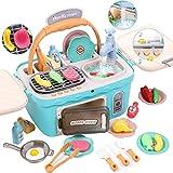 Toyssa Kinderküche Spielküche Küche Spielzeug Kinder Kochen Lebensmittel Spielzeug Waschbecken Ofen Spielzeug Küchenzubehör Koch Rollenspiel Geburtstag Kinder Mädchen Jungen